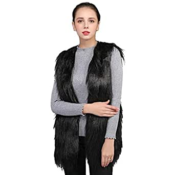 ZWWZ Womens Sleeveless Winter Body Warm Coat Faux Fur