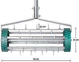 UPP® rodillo aireador de césped I aireador de césped de acero I rodillo de jardín para oxigenar el césped I rodillo con púas para airear el césped I aireador de césped de
