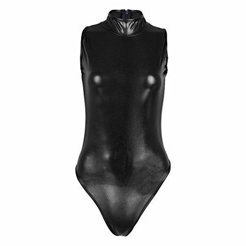 iiniim Womens Wet Look One-Piece High Cut Sleeveless Leotard Bodysuit Clubwear