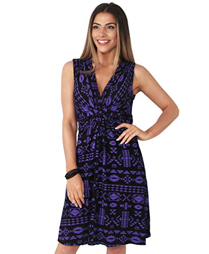 Krisp Womens Casual Stretch Knot Front V-Neck Aztec Print Tank Dress [6607-PURBLK-14]