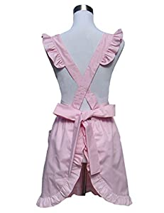 Hyzrz Lovely Cotton White Retro Lady's Aprons for Women's Cake Kitchen Girls Cook Apron with Pockets for Christmas Gift