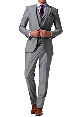XDress Men's 3 Pieces Classic Fit Slim Side Vent Business Suit Vest (Gray,50L) by XDress