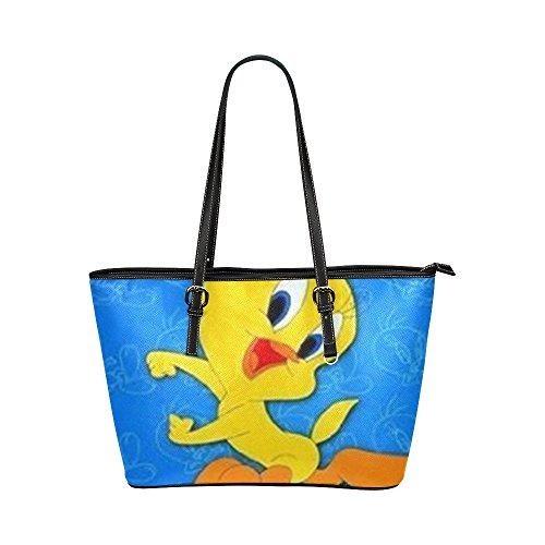 Angelinana Custom Cartoon Tweety Bird Leather Tote Bag/Handbag/Shoulder/travel Bag for Women Girls (Tweety Handbag)