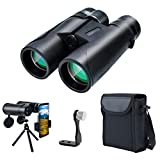 12x42 Binoculars for Adults and Kids, Compact Hunting Binoculars with Clear Weak Light Vision, 18mm Large Eyepiece Binoculars for Bird Watching, Outdoor Sports and Concerts with BAK4 FMC Lens