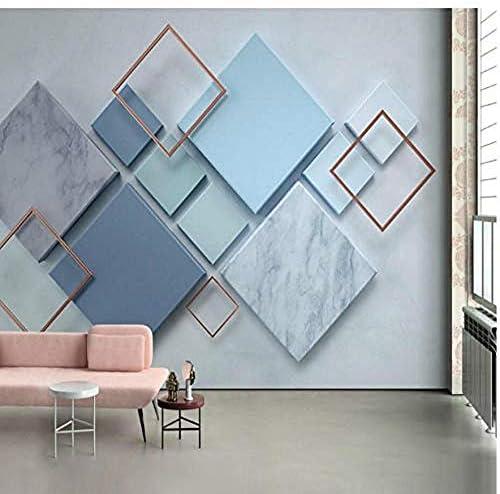 Djskhf 現代のシンプルな3D立体幾何学的な菱形大理石壁紙リビングルームの寝室の壁紙家の装飾3D壁画 400X280Cm