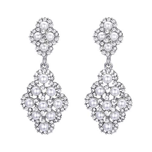 BriLove Wedding Bridal Clip On Earrings for Women Rhombus Crystal Simulated Pearl Hollow Chandelier Dangle Earrings Clear Silver-Tone