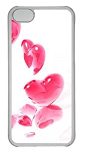 Customized Case Scattered heart PC Transparent for Apple iPhone 5C