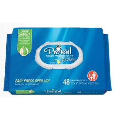 Wipes Adult (Prevail Single-Hand Dispensing Feature Large Washcloths, 48 Count (Pack of 12))
