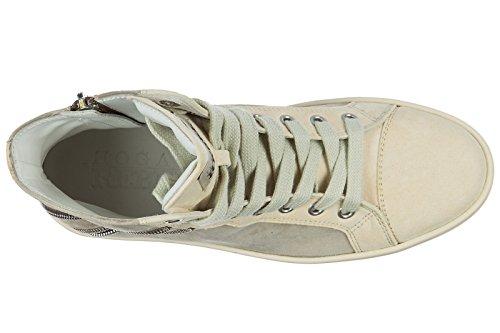 Hogan Rebel scarpe sneakers alte donna in camoscio nuove r141 beige
