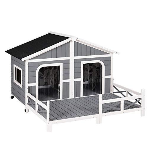 PawHut Wood Raised Pet Dog House Outdoor Weatherproof Rustic Log Cabin Style, Grey