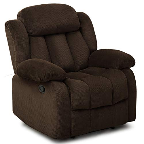 ANJ Oversized Fabric Recliner Chair for Living Room Lounge Chair-R9835 Brown