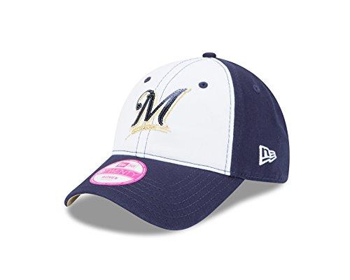 MLB Milwaukee Brewers Women's Team Glimmer 9TWENTY Adjustable Cap, One Size, Navy (White Baseball Milwaukee Brewers)