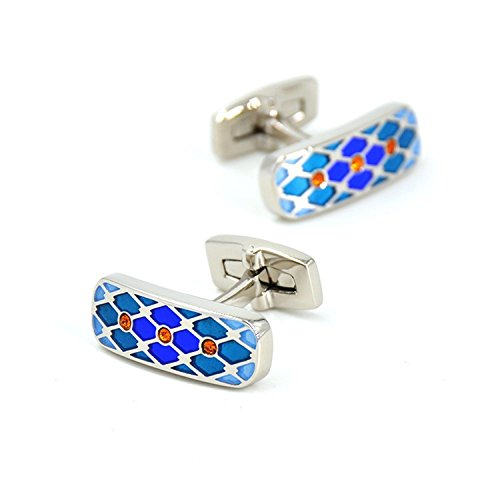 Rohdium Plated - Men's Jewelry Rectangle Orange Crystal Cufflinks Rohdium Plated Brass With Presentation Gift Box