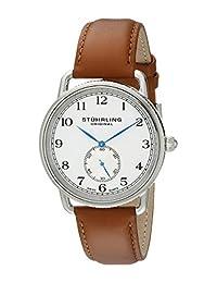 Stuhrling Original Men's 207.01 Classic Cuvette Decor Swiss Quartz Brown Leather Strap Watch
