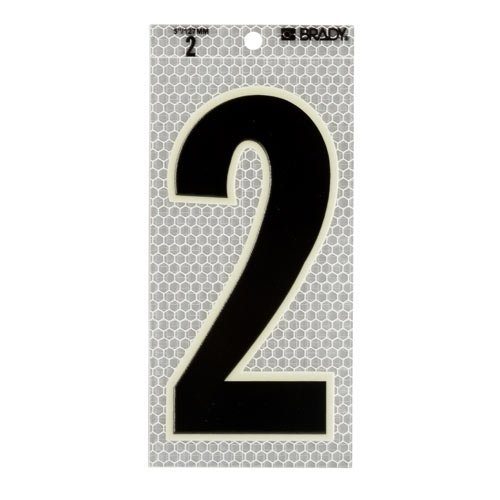 Brady 3020-2, 52308 Glow-In-The-Dark/Ultra Reflective Number - 2, 4 Packs of 10 pcs