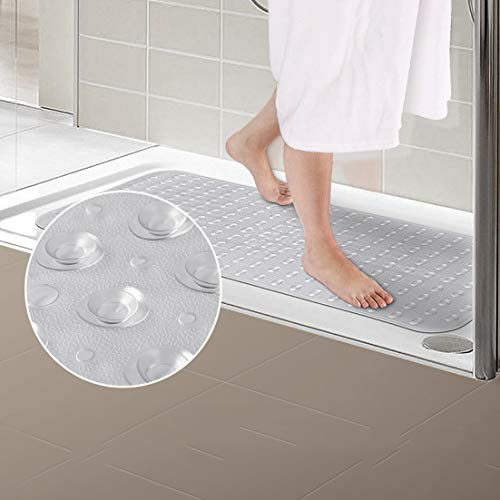 Townhouse Extra-Long(39x16), Shower, and Bathtub Mat, Antibacterial, BPA, Latex, Phthalate Free, XL Size, Machine Washable, Superior Grip&Drainage Bath Mats, Clear