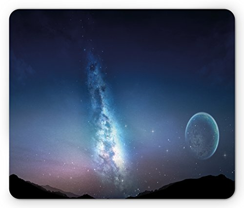 Space Mouse Pad by Lunarable, Nebula Gas Cloud with Moon and Stars Cluster Vivid Bright Astronomical Events Facts Image, Standard Size Rectangle Non-Slip Rubber Mousepad, (Moon Cluster)