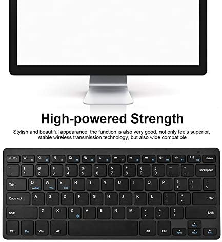 Bluetooth Keyboard Stylish Portable Foldable Wireless Keyboard Slim Universal Bluetooth Keyboard Black and Silver Suitable for Home Office Color : Black