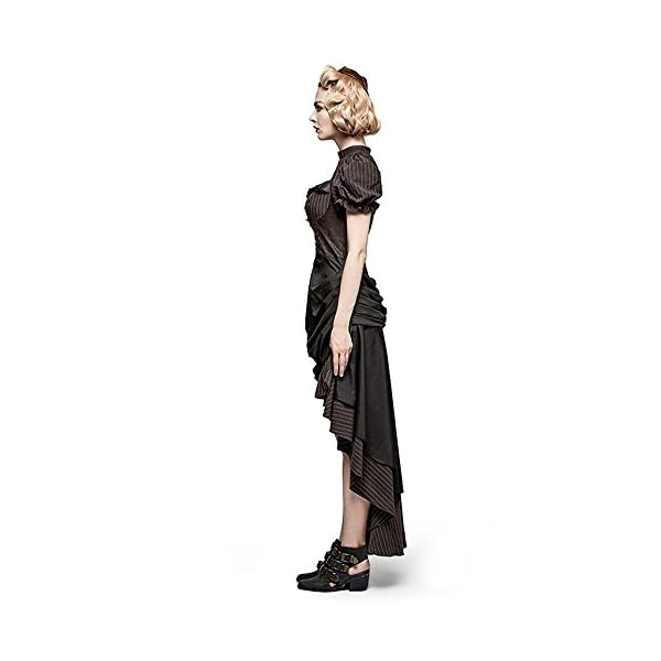Steampunk Coffee Puff Sleeve High Low Evening Dress Palace Burn-out Gear Shape Party Dress 4