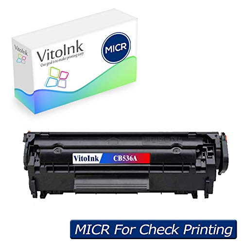 VitoInk Remanufacture CB536A MICR Check Printing Toner Cartridge Compatible for HP Laserjet M1319f Multifunction Toner Cartridge(Black, 1-Pack).