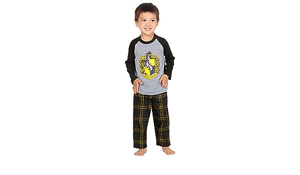 HARRY POTTER Los Chicos Raglan Camisa y Pantalones Pijama Plaid Set- (Hufflepuff, 2T)