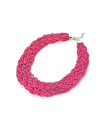 Karen accessories Fashion Multilayer Seed Beads Strand Braided Statement Bib Choker Necklace