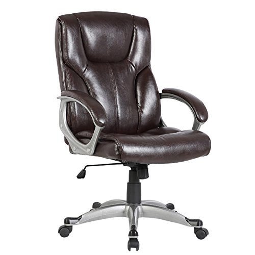 Executive Chair Brown,Julyfox Ergonomic Desk Office Chair High Back Big and Tall Heavy Duty PU Leather Upholstered With Wheels Back myka's Support 500 lb Capacity