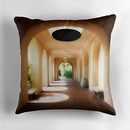 (Archway Balboa Park Decorative Throw Pillow Cover Square Size 18x18 in Hidden Zipper Decor Cushion Gift for Home Sofa Bedroom Couch)