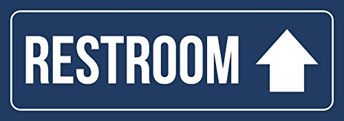 iCandy Combat Blue Background with White Font Restroom - Up Arrow Business Retail Outdoor & Indoor Metal Wall Sign - Single, 3x9 Inch