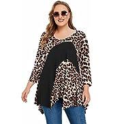 JollieLovin V Neck Tunic Shirts for Plus Size Women 3/4 Sleeve Color Block Tops Casual Asymmetric...