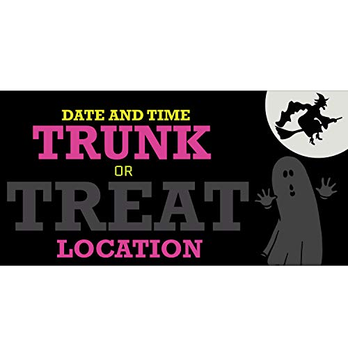 Halloween Trunk or Treat 11 Oz Vinyl PVC Flex Banner Decoration for Indoor/Outdoor, Home, Door, Party, Yard, Office with Hemmed Edges & Metal Grommets Free (4' X -