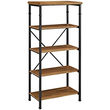 bookshelf reclaimed open il shelving wood drawers storage bookcases industrial