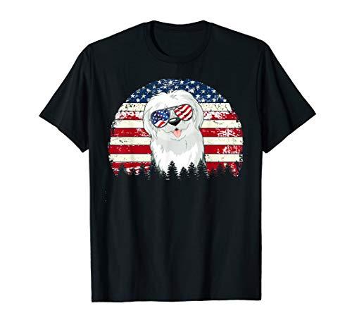 English Sheepdog Dog American Flag 4th Of July Retro Vintage T-Shirt