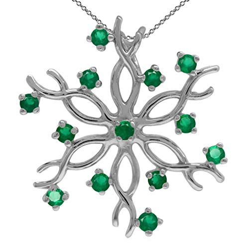 Natural Emerald Green Agate 925 Sterling Silver Snowflake Pendant w/ 18 Inch Chain Necklace