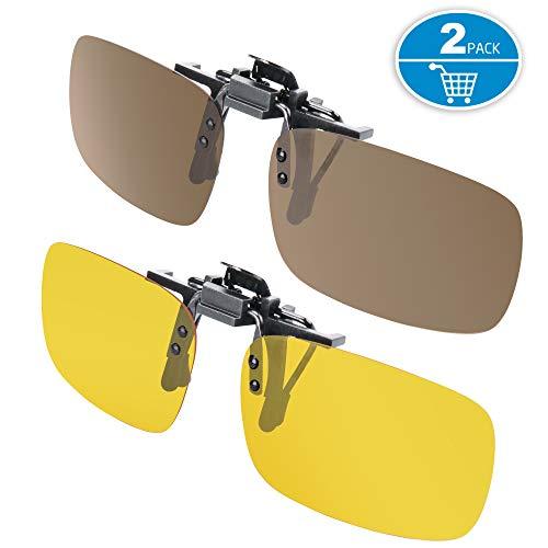Splaks Clip-on Sunglasses, Unisex Polarized Frameless Rectangle Lens Flip Up Clip on Prescription Sunglasses Eyeglass, 2-Piece Clip on Glasses (1 Brown & 1 Yeallow)