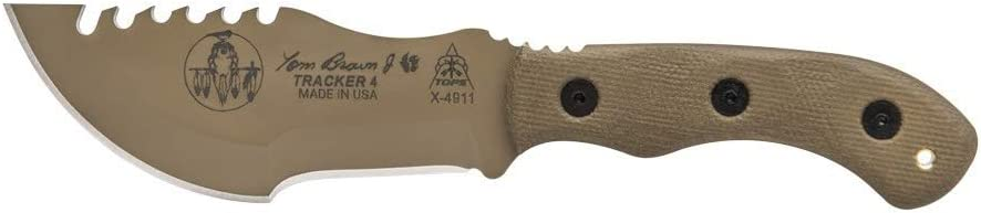 Amazon Com Tops Knives Tom Brown Tracker 4 3 5in Drop Point Fixed Blade Knife Tbt04 Tan Sports Outdoors