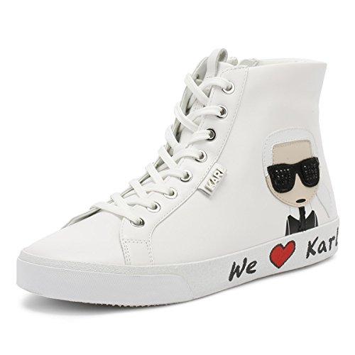 Karl Lagerfeld Skool Karl Ikonic Hi Lace Blanc Femmes Basket