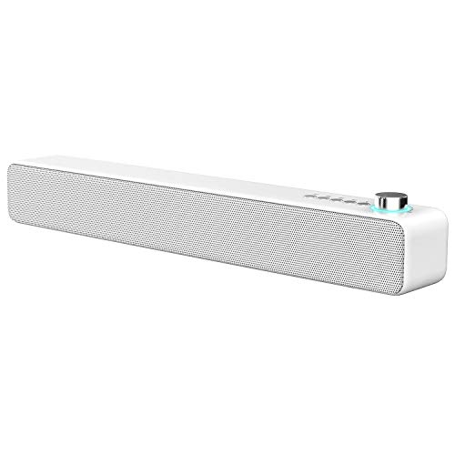 LENRUE Sound bar Bluetooth Speakers 10W 3D Surround Sound with Enhanced Bass, Bluetooth 5.0 Home Theater Speaker Bar Wired and Wireless Connection, Support for Projector, Tablet, PC and TV(White)