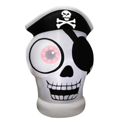 Halloween 5'  Inflatable 1-Eyed Pirate Skull Skeleton with Moving - Eye Glasses Cat Buy
