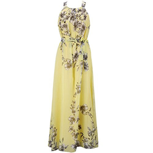 Fashion Story Women Easter Summer Yellow Evening Gown Floral Long Lace Cocktail Maxi Chiffon Slip Dresses Yellow XL/US (Yellow Halter Gown)