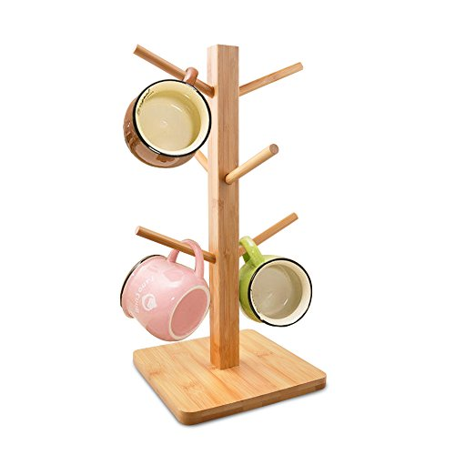 Cuteadoy Mug Rack Tree, Removable Bamboo Mug Stand, Storage Coffee Tea Cup Organizer Hanger Holder with 6 Hooks ()