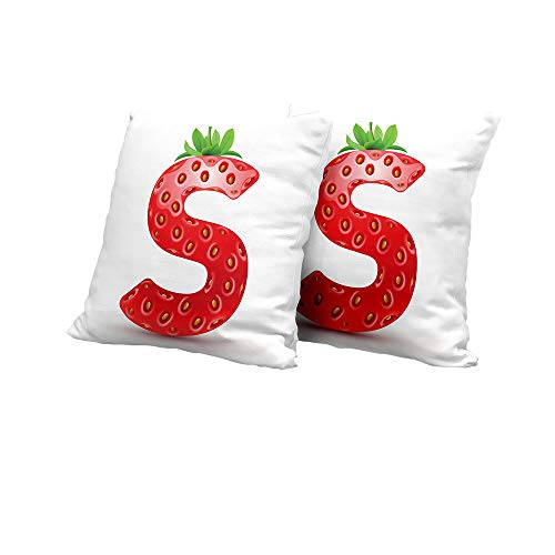 (Stool Cushion Cover Letter S,Capital S Strawberry Seeds and Green Leaves Organic Plant Realistic,Vermilion Green Orange Pillow Covers 20x20 INCH 2pcs)