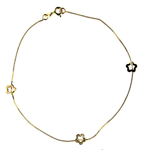 18K yellow gold flower anklet bracelet 9 inches by Amalia