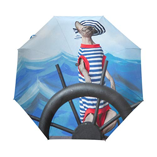 Painted Hand Umbrellas (senya Compact Travel Umbrella Automatic Open Close Sphinx Cat Folding Umbrella UV Protection Windproof for Women Men)