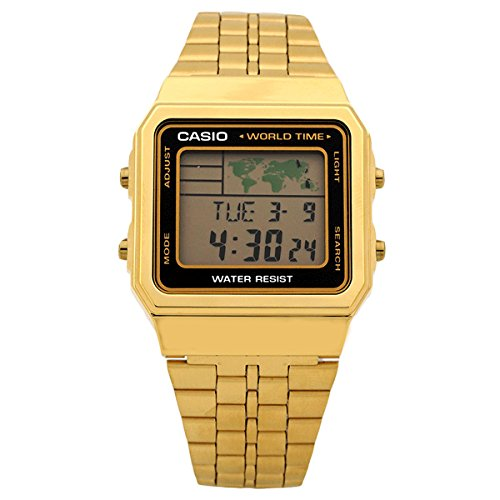 CASIO Men's Digital World TIME A500WGA-1DF Stainless Steel Watch