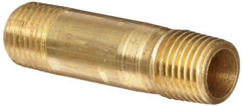 Anderson Metals Brass Pipe Fitting, Long Nipple, 1/4
