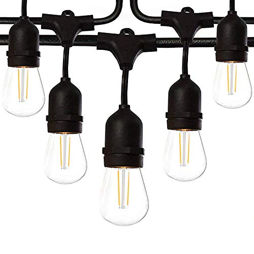48 Ft LED Outdoor String Lights with 15 Lights (3 Extra S14 Bulbs) and 13 Foot Matching Extension Cord - Commercial Weatherproof Patio String Lights (Cost String Plus Lights)