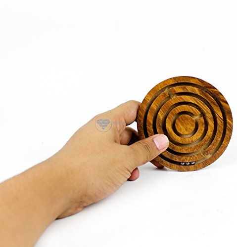Nagina International Ball in A Maze Puzzle Board Game | Premium Hand Crafted Wooden Labyrinth Kid's Table Game | Wooden Toys & Craft (Small)