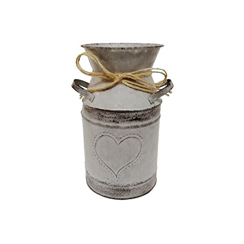 - Watering Honey 7.5inch Old Fashioned Galvanized Milk Can with Heart-Shaped Printing - Grey