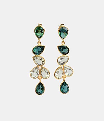 Elegant Green Tourmaline Quartz and Green Amethyst Quartz Drop Earrings (Tourmaline Date Earrings)